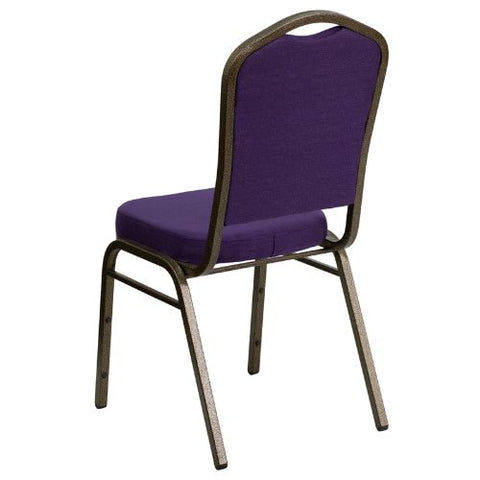 Flash Furniture HERCULES Series Crown Back Stacking Banquet Chair in Purple Fabric - Gold Vein Frame FDC01PURGVGG ; Image 3 ; UPC 847254060516