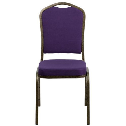 Flash Furniture HERCULES Series Crown Back Stacking Banquet Chair in Purple Fabric - Gold Vein Frame FDC01PURGVGG ; Image 4 ; UPC 847254060516