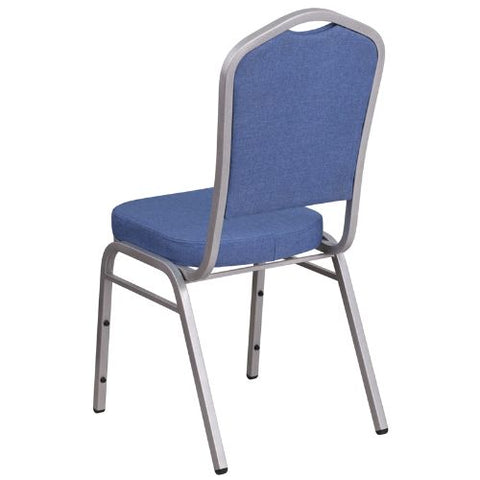 Flash Furniture HERCULES Series Crown Back Stacking Banquet Chair in Blue Fabric - Silver Frame FDC01S7GG ; Image 3 ; UPC 889142075028