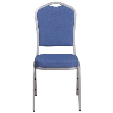 Flash Furniture HERCULES Series Crown Back Stacking Banquet Chair in Blue Fabric - Silver Frame FDC01S7GG ; Image 4 ; UPC 889142075028