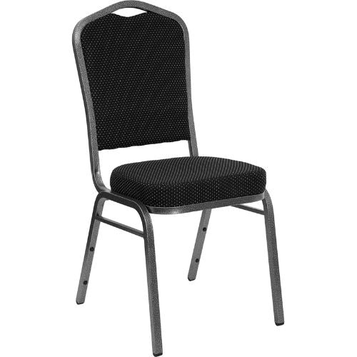 Flash Furniture HERCULES Series Crown Back Stacking Banquet Chair in Black Dot Patterned Fabric - Silver Vein Frame FDC01SILVERVEINS076GG ; Image 1 ; UPC 847254009171