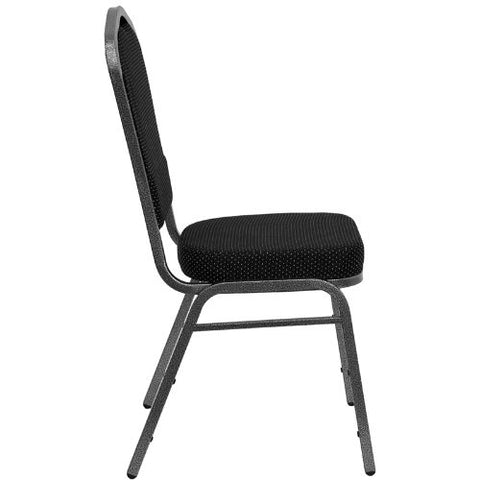 Flash Furniture HERCULES Series Crown Back Stacking Banquet Chair in Black Dot Patterned Fabric - Silver Vein Frame FDC01SILVERVEINS076GG ; Image 2 ; UPC 847254009171