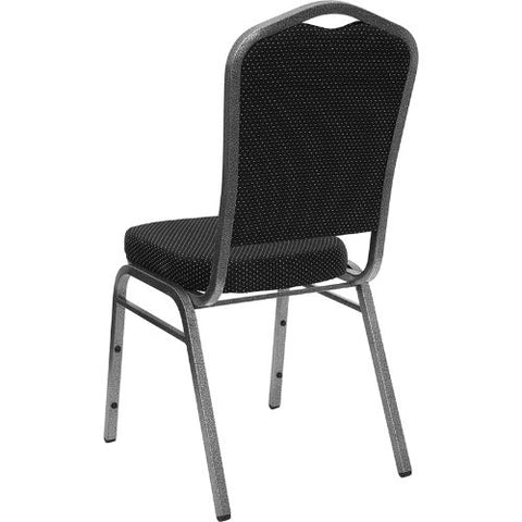 Flash Furniture HERCULES Series Crown Back Stacking Banquet Chair in Black Dot Patterned Fabric - Silver Vein Frame FDC01SILVERVEINS076GG ; Image 3 ; UPC 847254009171