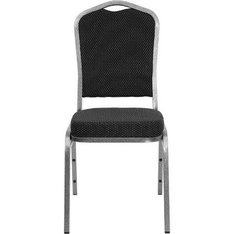 Flash Furniture HERCULES Series Crown Back Stacking Banquet Chair in Black Dot Patterned Fabric - Silver Vein Frame FDC01SILVERVEINS076GG ; Image 4 ; UPC 847254009171