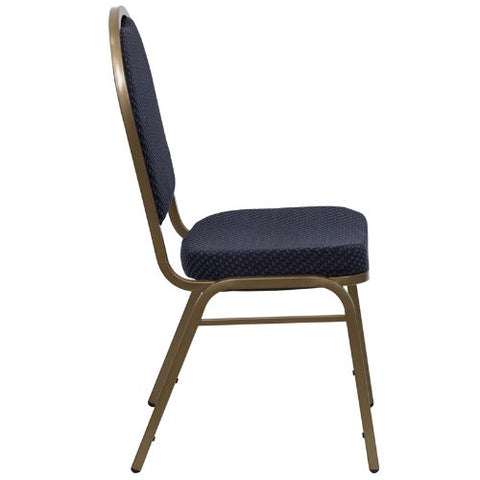 Flash Furniture HERCULES Series Dome Back Stacking Banquet Chair in Navy Patterned Fabric - Gold Frame FDC03ALLGOLDH203774GG ; Image 2 ; UPC 847254004985