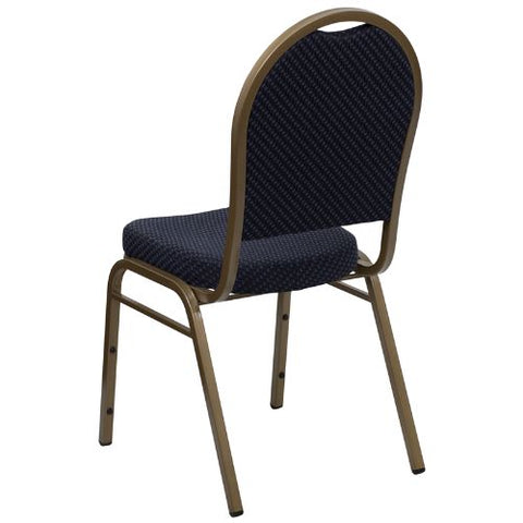 Flash Furniture HERCULES Series Dome Back Stacking Banquet Chair in Navy Patterned Fabric - Gold Frame FDC03ALLGOLDH203774GG ; Image 3 ; UPC 847254004985