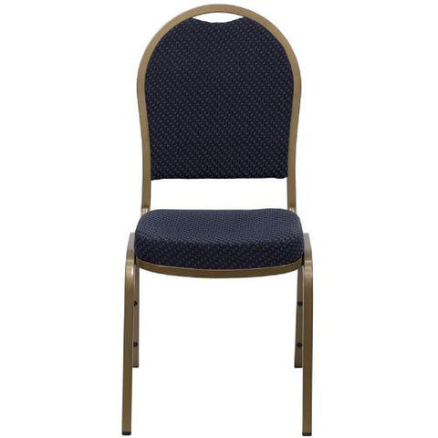 Flash Furniture HERCULES Series Dome Back Stacking Banquet Chair in Navy Patterned Fabric - Gold Frame FDC03ALLGOLDH203774GG ; Image 4 ; UPC 847254004985