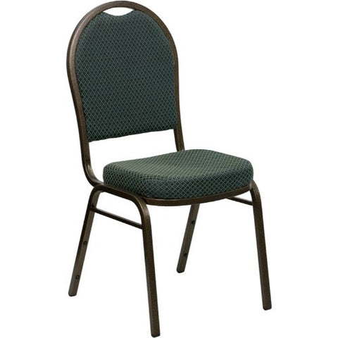 Flash Furniture HERCULES Series Dome Back Stacking Banquet Chair in Green Patterned Fabric - Gold Vein Frame FDC03GOLDVEIN4003GG ; Image 1 ; UPC 847254007115