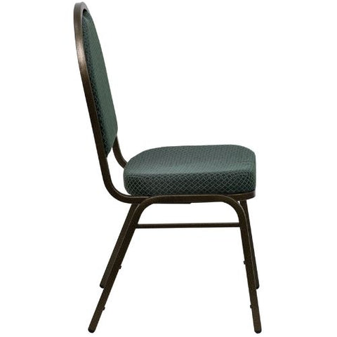 Flash Furniture HERCULES Series Dome Back Stacking Banquet Chair in Green Patterned Fabric - Gold Vein Frame FDC03GOLDVEIN4003GG ; Image 2 ; UPC 847254007115
