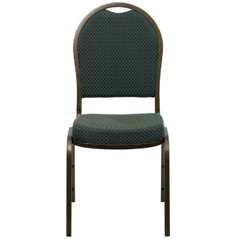 Flash Furniture HERCULES Series Dome Back Stacking Banquet Chair in Green Patterned Fabric - Gold Vein Frame FDC03GOLDVEIN4003GG ; Image 4 ; UPC 847254007115