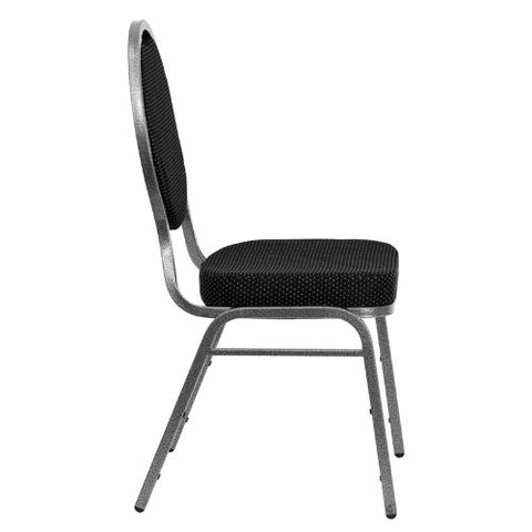 Flash Furniture HERCULES Series Teardrop Back Stacking Banquet Chair in Black Patterned Fabric - Silver Vein Frame FDC04SILVERVEINS076GG ; Image 2 ; UPC 847254008983