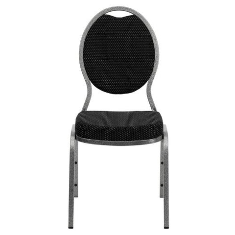 Flash Furniture HERCULES Series Teardrop Back Stacking Banquet Chair in Black Patterned Fabric - Silver Vein Frame FDC04SILVERVEINS076GG ; Image 4 ; UPC 847254008983