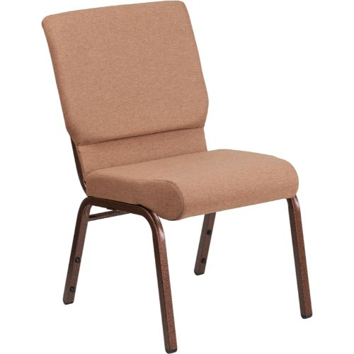 Flash Furniture HERCULES Series 18.5''W Stacking Church Chair in Caramel Fabric - Copper Vein Frame FDCH02185CVBNGG ; Image 1 ; UPC 889142075332