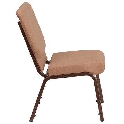 Flash Furniture HERCULES Series 18.5''W Stacking Church Chair in Caramel Fabric - Copper Vein Frame FDCH02185CVBNGG ; Image 2 ; UPC 889142075332