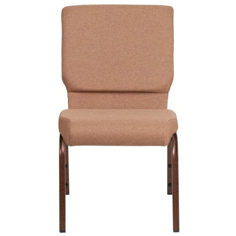 Flash Furniture HERCULES Series 18.5''W Stacking Church Chair in Caramel Fabric - Copper Vein Frame FDCH02185CVBNGG ; Image 4 ; UPC 889142075332