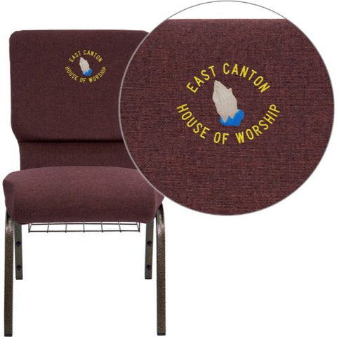 Embroidered HERCULES Series 18.5''W Plum Fabric Church Chair with 4.25'' Thick Seat, Communion Cup Book Rack - Gold Vein Frame; (UPC: 847254051255); Goldvein, Plum