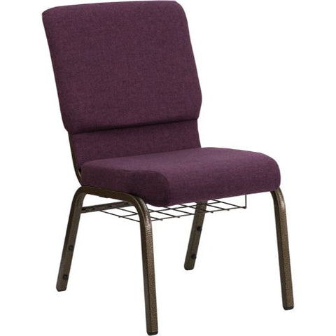 Flash Furniture HERCULES Series 18.5''W Church Chair in Plum Fabric with Cup Book Rack - Gold Vein Frame FDCH02185GV005BASGG ; Image 1 ; UPC 812581012385
