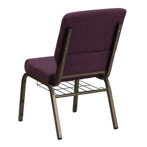 Flash Furniture HERCULES Series 18.5''W Church Chair in Plum Fabric with Cup Book Rack - Gold Vein Frame FDCH02185GV005BASGG ; Image 3 ; UPC 812581012385