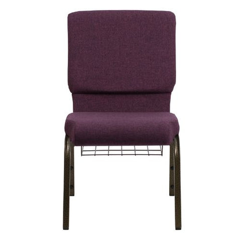 Flash Furniture HERCULES Series 18.5''W Church Chair in Plum Fabric with Cup Book Rack - Gold Vein Frame FDCH02185GV005BASGG ; Image 4 ; UPC 812581012385
