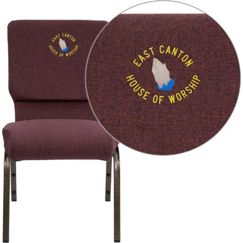 Embroidered HERCULES Series 18.5''W Plum Fabric Stacking Church Chair with 4.25'' Thick Seat - Gold Vein Frame; (UPC: 847254051279); Goldvein, Plum