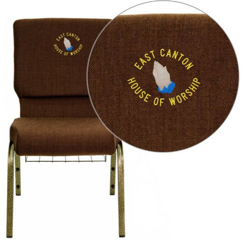 Embroidered HERCULES Series 18.5''W Brown Fabric Church Chair with 4.25'' Thick Seat, Communion Cup Book Rack - Gold Vein Frame; (UPC: 847254051286); Brown, Goldvein