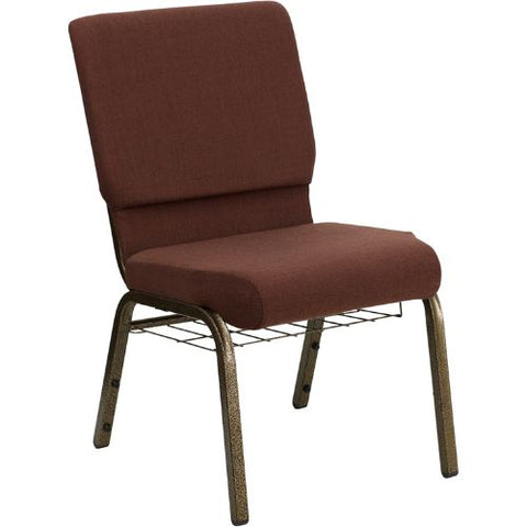 Flash Furniture HERCULES Series 18.5''W Church Chair in Brown Fabric with Cup Book Rack - Gold Vein Frame FDCH02185GV10355BASGG ; Image 1 ; UPC 812581012408