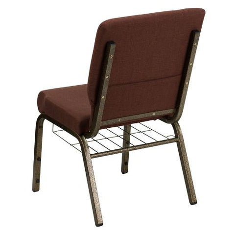 Flash Furniture HERCULES Series 18.5''W Church Chair in Brown Fabric with Cup Book Rack - Gold Vein Frame FDCH02185GV10355BASGG ; Image 3 ; UPC 812581012408