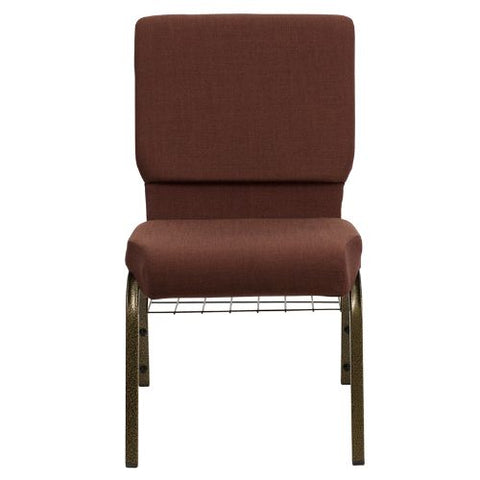 Flash Furniture HERCULES Series 18.5''W Church Chair in Brown Fabric with Cup Book Rack - Gold Vein Frame FDCH02185GV10355BASGG ; Image 4 ; UPC 812581012408