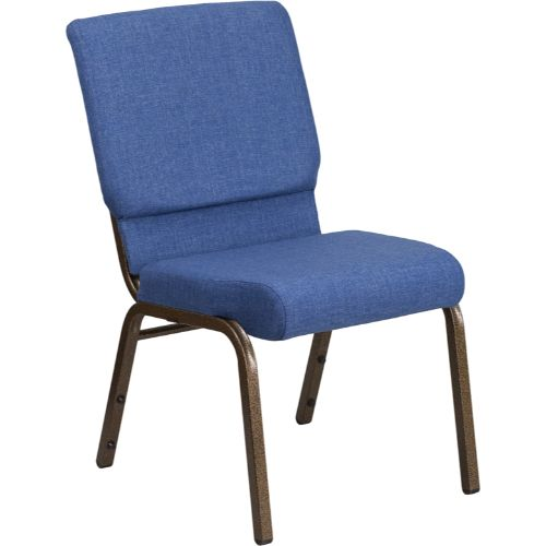 Flash Furniture HERCULES Series 18.5''W Stacking Church Chair in Blue Fabric - Gold Vein Frame FDCH02185GVBLUEGG ; Image 1 ; UPC 889142075356