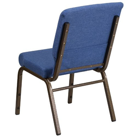 Flash Furniture HERCULES Series 18.5''W Stacking Church Chair in Blue Fabric - Gold Vein Frame FDCH02185GVBLUEGG ; Image 3 ; UPC 889142075356