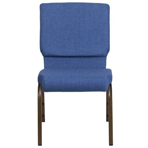 Flash Furniture HERCULES Series 18.5''W Stacking Church Chair in Blue Fabric - Gold Vein Frame FDCH02185GVBLUEGG ; Image 4 ; UPC 889142075356