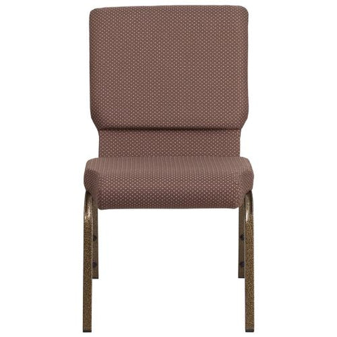 Flash Furniture HERCULES Series 18.5''W Stacking Church Chair in Brown Dot Fabric - Gold Vein Frame FDCH02185GVBNDOTGG ; Image 4 ; UPC 889142075363