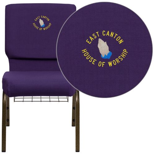 Flash Furniture Embroidered HERCULES Series 18.5''W Church Chair in Royal Purple Fabric with Cup Book Rack - Gold Vein Frame FDCH02185GVROYBASEMBGG ; Image 1 ; UPC 847254051330