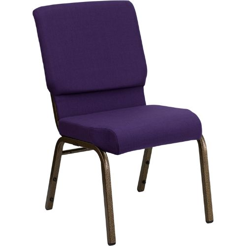 Flash Furniture HERCULES Series 18.5''W Stacking Church Chair in Royal Purple Fabric - Gold Vein Frame FDCH02185GVROYGG ; Image 1 ; UPC 847254034791
