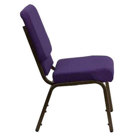 Flash Furniture HERCULES Series 18.5''W Stacking Church Chair in Royal Purple Fabric - Gold Vein Frame FDCH02185GVROYGG ; Image 2 ; UPC 847254034791