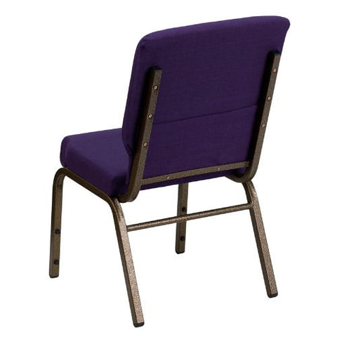 Flash Furniture HERCULES Series 18.5''W Stacking Church Chair in Royal Purple Fabric - Gold Vein Frame FDCH02185GVROYGG ; Image 3 ; UPC 847254034791
