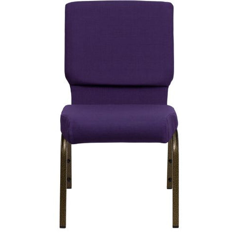 Flash Furniture HERCULES Series 18.5''W Stacking Church Chair in Royal Purple Fabric - Gold Vein Frame FDCH02185GVROYGG ; Image 4 ; UPC 847254034791
