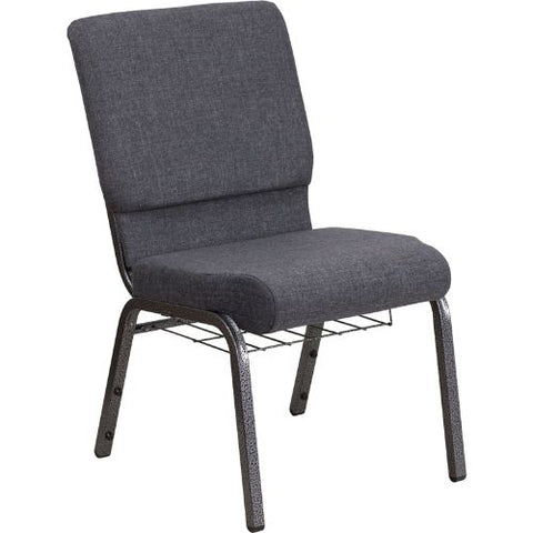 Flash Furniture HERCULES Series 18.5''W Church Chair in Dark Gray Fabric with Book Rack - Silver Vein Frame FDCH02185SVDKGYBASGG ; Image 1 ; UPC 889142075691
