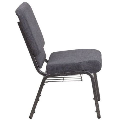Flash Furniture HERCULES Series 18.5''W Church Chair in Dark Gray Fabric with Book Rack - Silver Vein Frame FDCH02185SVDKGYBASGG ; Image 2 ; UPC 889142075691