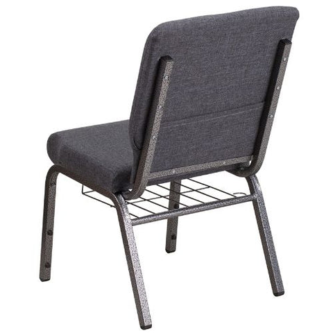 Flash Furniture HERCULES Series 18.5''W Church Chair in Dark Gray Fabric with Book Rack - Silver Vein Frame FDCH02185SVDKGYBASGG ; Image 3 ; UPC 889142075691