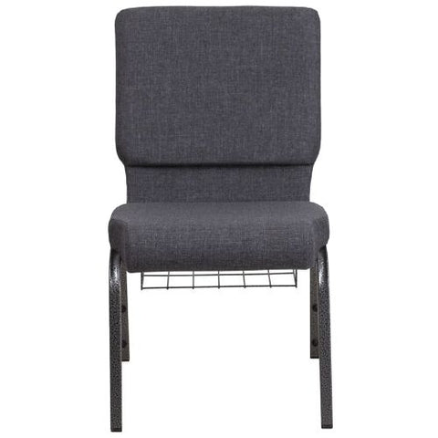 Flash Furniture HERCULES Series 18.5''W Church Chair in Dark Gray Fabric with Book Rack - Silver Vein Frame FDCH02185SVDKGYBASGG ; Image 4 ; UPC 889142075691