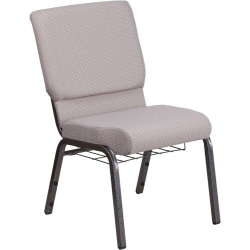 Flash Furniture HERCULES Series 18.5''W Church Chair in Gray Dot Fabric with Book Rack - Silver Vein Frame FDCH02185SVGYDOTBASGG ; Image 1 ; UPC 889142075653