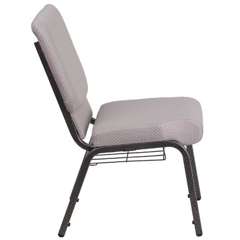 Flash Furniture HERCULES Series 18.5''W Church Chair in Gray Dot Fabric with Book Rack - Silver Vein Frame FDCH02185SVGYDOTBASGG ; Image 2 ; UPC 889142075653