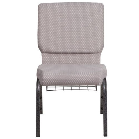 Flash Furniture HERCULES Series 18.5''W Church Chair in Gray Dot Fabric with Book Rack - Silver Vein Frame FDCH02185SVGYDOTBASGG ; Image 4 ; UPC 889142075653