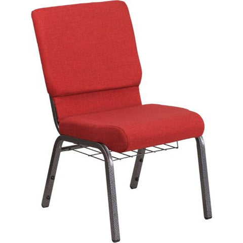 Flash Furniture HERCULES Series 18.5''W Church Chair in Red Fabric with Cup Book Rack - Silver Vein Frame FDCH02185SVREDBASGG ; Image 1 ; UPC 889142075677