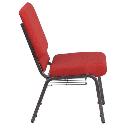 Flash Furniture HERCULES Series 18.5''W Church Chair in Red Fabric with Cup Book Rack - Silver Vein Frame FDCH02185SVREDBASGG ; Image 2 ; UPC 889142075677
