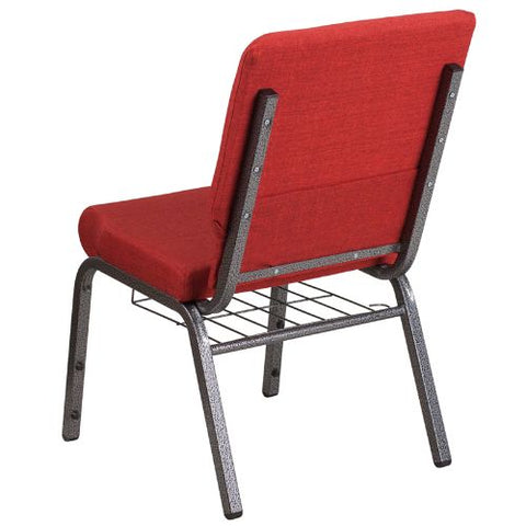 Flash Furniture HERCULES Series 18.5''W Church Chair in Red Fabric with Cup Book Rack - Silver Vein Frame FDCH02185SVREDBASGG ; Image 3 ; UPC 889142075677