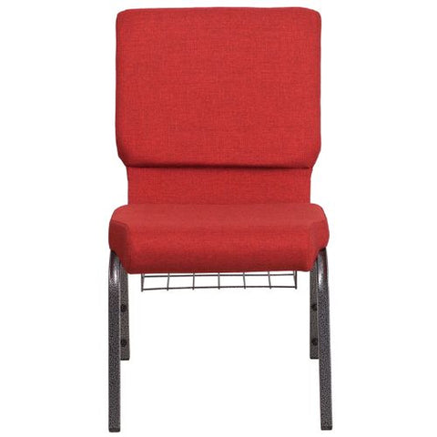 Flash Furniture HERCULES Series 18.5''W Church Chair in Red Fabric with Cup Book Rack - Silver Vein Frame FDCH02185SVREDBASGG ; Image 4 ; UPC 889142075677