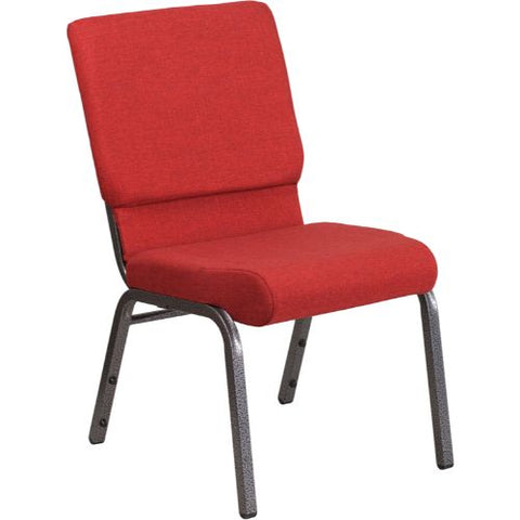 Flash Furniture HERCULES Series 18.5''W Stacking Church Chair in Red Fabric - Silver Vein Frame FDCH02185SVREDGG ; Image 1 ; UPC 889142075417