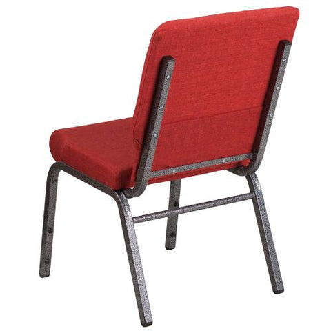 Flash Furniture HERCULES Series 18.5''W Stacking Church Chair in Red Fabric - Silver Vein Frame FDCH02185SVREDGG ; Image 3 ; UPC 889142075417